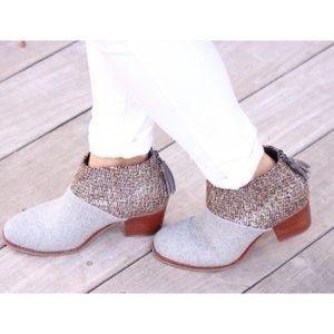 Toms Leila boots. gray/metallic. fringe zip back